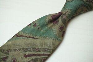 Ralph Lauren Purple Label Green Red Paisley Subdued Hand Made Linen Tie