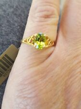 Peridot Oval Cut Ring 10kt Solid Yellow Gold