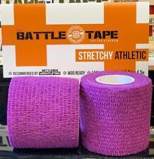 BATTLETAPE 2 Pack Weightlifting Hook Grip Stretchy Purple Tape 5cmx4.5m Athletic