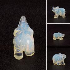 """1.5"""" Quartz Lucky Crystal Elephant Carved Figurine Stautue Stone Jade Home Decor"""
