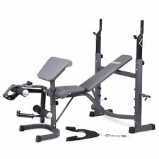 Body Champ BCB5860 Olympic Weight Bench with Preacher Curl, Leg Developer, and