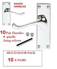 10 x MULTI PACK of CHROME 'Scroll' Lever Door Handles | Modern Silver Handles