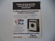 advertising Pubblicità 1979 LAVATRICE REX