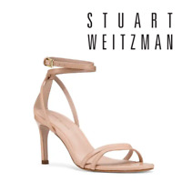Stuart Weitzman Lexie Ankle Straps Heeled Sandal Nude Leather US 9 M $425