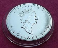 1990 Canada Hoja de arce de $5 Cinco dólares de plata BU 1 Oz Moneda