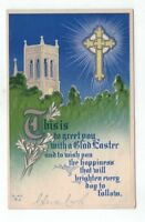 Antique Easter Post Card Cross Silver Foil Blue Sky Greenery
