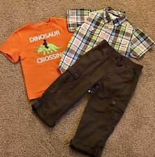 Gymboree Boys 3 Piece Outfit~ Size 5/5t~Dinosour Crossing~Worn Once~Roll Up Pant