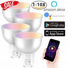 10 Pcak GU10 Smart Bulb App Remote Control RGB 5W WiFi Light For Alexa Google UK