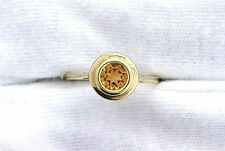 10Kt REAL Yellow Gold 5mm Round Golden Citrine Gemstone Gem Bezel  Ladies Ring