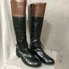 Coach and Four Tall Black & Tan Boots 8 GUC