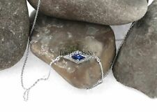 14K White Gold Genuine Diamond And Blue Sapphire Rhombus Shape Pendant Necklace