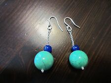 Unique Modernist Silver-Silver Tone Round Turquoise Blue Bead Hook/Drop Earrings