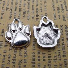 30//90pcs Tibetan Silver Dog Cat Paw Print Footprints Charms Pendentifs Findings