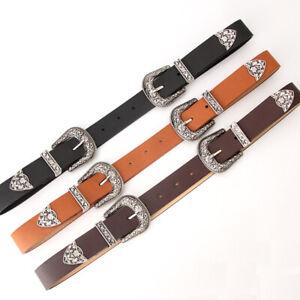 Womens Double Buckle Belt Vintage Faux Leather Retro Ladies Waist Band