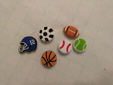Shoe Charms Buttons Pins Sports Set of 6 new Compatible with Croc Shoes