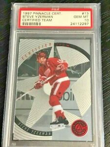 Steve Yzerman 1997 Pinnacle Certified Team Silver #13 PSA 10 Gem Mint POP 3