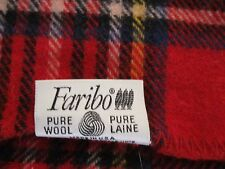 VINTAGE RED PLAID FARIBO WOOL BLANKET 66X53 EX. COND