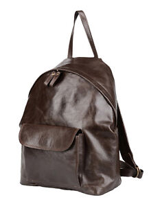 RRP €360 CORSIA Leather Backpack Large Brown Grainy Slouchy Zipped Made in Italy