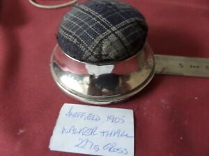 """A WALKER AND HALL LARGE SOLID SILVER PIN CUSHION 4"""" DIA 227 GRAMS GROSS WEIGHT"""