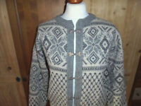 vintage Norweger Strickjacke Wolljacke norwegian tradition jacke Wolle grau Gr.S