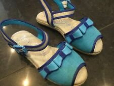Juicy Couture New & Genuine Girls Blue Canvas Sandals Size UK 12 EU 31 With Logo