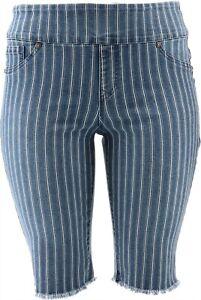 DG2 Diane Gilman Stretch Pull-On Bermuda Short Midtone Stripe PXS # 697-721