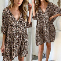 New Women Leopard Print Buttons Short Sleeve Mini Dress Summer Loose Dresses HL
