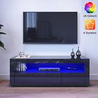 Modern TV Stand Unit Cabinet Living Room Set Entertainment Gloss Doors Free LED