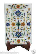 """6""""x4"""" White Marble Serving Tray Plate Rare Mosaic Inlay Kitchen Decor Gift H1881"""