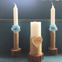 Wedding Unity Candles Set of 3 with Wooden Candle Holders, Unity Wedding Candle