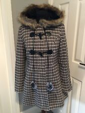 Yumi Multi Country Check Duffle Coat With Fur Hood Size 8