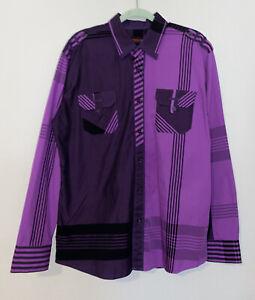 VINTAGE Albertini Mens Shirt XL Purple Colorblock Asymmetrical Button Down