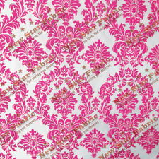 White / Fuchsia Damask Flocked Taffeta Fabric 58 inches width sold by the yard