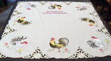 NAPPE SURNAPPE CENTRE DE TABLE BRODEE POLYESTER  85X85 COCORICO
