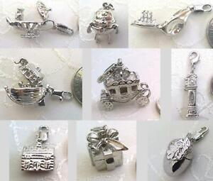 1 x Silver Tone 3D Charms - 9 Designs - for Bracelets,Bags,Crafts- Lobster Clasp