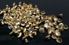 "Pkg of 10 CZ Golden Metal Rivet Studs 3/8"" (10mm) Leather Crafts (1036)"