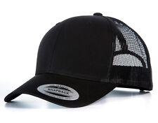NEW BLACK FLEXFIT MESH SNAPBACK CAP PLAIN BASEBALL TRUCKER GOLF ERA PEAK HAT