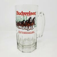 Budweiser King Of Beers Clydesdales Christmas Clear GLASS MUG/STEIN 1992 Genuine