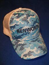 KENWORTH HAT:      OCEAN BLUE PIXEL TRUCKERS CAP    *FREE SHIPPING *
