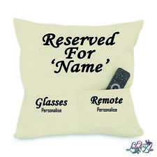 PERSONALISED Reserved for Pocket Cushion | 2 Pocket Canvas Cushion | Fathers Day