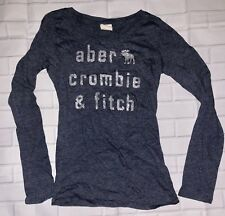 Abercrombie & Fitch Kids Blue Silver Glitter Moose Long Sleeve Shirt Top Large