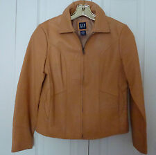 BEAUTIFUL GENTLY WORN CAMEL COLOR GENUINE GAP LEATHER JACKET XS GOOD CONDITION!