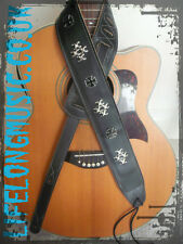 Iron cross  country rock metal black leather style guitar strap ! XMAS GIFT !