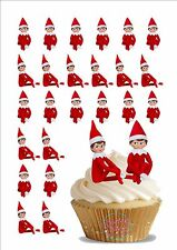 30 x 4cm Novelty Elf On The Shelf Edible Cake Toppers Decorations Christmas Xmas