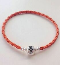 Tennessee Orange Leather Bracelets/ Bangle Fit European Charms/Beads PL11