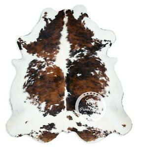 Cowhide Rug - Exotic Tricolor High Quality Hair on Hide Size: Large (L) H86
