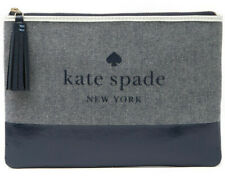 NWT Kate Spade Ash Logo Large Tassel Pouch Navy Blue Canvas WLRU5328 Retail $69