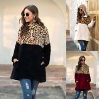 Womens Leopard Hooded Coat Ladies Winter Fluffy Fur Warm Casual Jacket Outwear