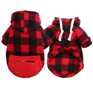 Pet Dog Hoodie Jacket Sweater Clothes Plaid Pocket Puppy Cat Coat Outfits XS-5XL