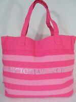 Victorias Secret Tote Bag Beach Purse Pink Signature Stripe Nwt